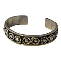 Vintage Taxco Mexico Sterling Antiqued Background Cuff Bracelet