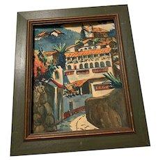 1950's Watercolor Taxco Mexico Mexican Village