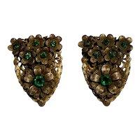 Pair of Vintage Dress or Fur Clips Green Rhinestones, Flowers