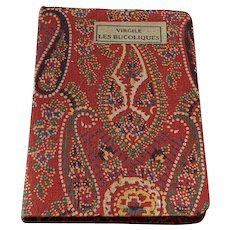 Miniature Vintage Red Paisley Cloth French Book Virgile Les Buscoliques