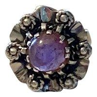 Vintage sterling and Amethyst Floral Ring
