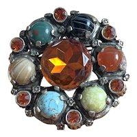 Vintage Miracle signed Brooch & Pendant Scottish Agate & Glass Stones