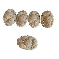 Vintage Celluloid Flowers Sweater or Fur clip set & Button