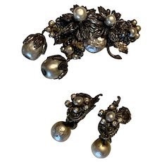 Lovely Vintage Miriam Haskell Baroque Pearl Dangle Brooch and Earrings