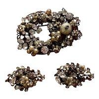 Vintage Jewel Encrusted Rhinestone and Pearl Miriam Haskell Demi Parure Brooch & Earrings Set
