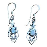 Delicate Vintage Sterling Silver & Mother of Pearl Dangle Earrings