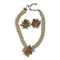 Vintage Signed Eugene Rhinestone & Gold Tone Necklace and Earrings