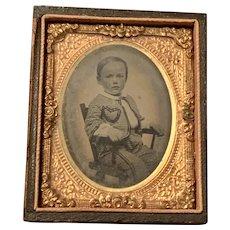 Antique Daguerreotype Tintype Somber Little Boy on Chair