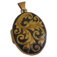 Vintage Gold Leaf Design on Black Enamel 14k Double Photo Charm Locket