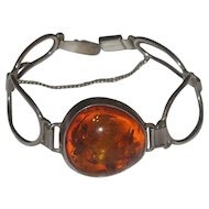 Vintage Chunky Baltic Amber & Sterling Silver Bracelet