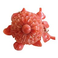 Victorian Carved Coral Chrysanthemum Brooch in 14k Gold
