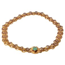 Outstanding 14k Antique Rose and Yellow Gold Plaque Chain Necklace