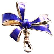 Gorgeous Vintage Silver Cobalt Blue Enamel Watch Pin with  Extra Swivel