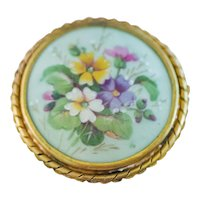 Beautiful Large Vintage Limoges Floral Brooch