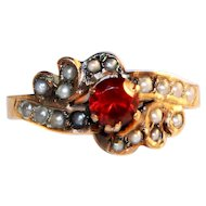 Charming Victorian Seed Pearl and Garnet Ring