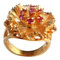 Fabulous 1970s Cocktail Ring with Rubies