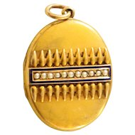 Antique 14k Locket For Mother With Enamel – dated 1902
