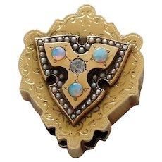 14k Large Watch Slide – Opals and Diamond