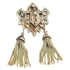 Very Fine 14k  Gold Victorian Enameled Tassel Brooch