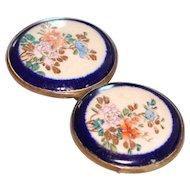 Vintage Double Satsuma Enameled Floral Belt Buckle