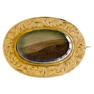 Outstanding and Unusual Gold Memory or Mourning Hair Brooch