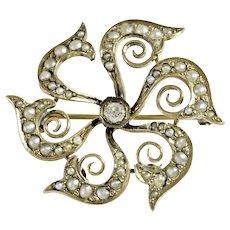 Beautiful Gold Pearl and Diamond Brooch/Watch Pin