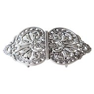 Fabulous Antique Sterling Silver Two Piece Belt Buckle