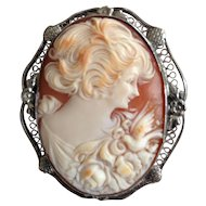 Lovely Vintage Sterling Filigree Cameo Woman with Dove