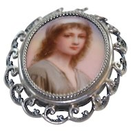 Fabulous Vintage Large Sterling Belt Buckle with Portrait