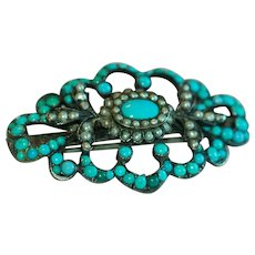 Beautiful Victorian Silver Scalloped Edge Turquoise Brooch