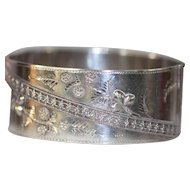 Wide Vintage Sterling Cuff or Bangle Bracelet with Raised Design