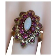Fabulous Vintage 14k Ruby and Opal Ring