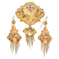 Fabulous Gold Victorian Demi Parure with Tassels and Display Locket