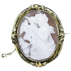 Outstanding Gold Mother and Child Victorian Cameo with Acorn Frame