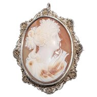 Lovely Victorian Cameo Brooch/Pendant  with Woman and Her Lyre in Filigree