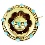 Gorgeous Victorian 12k Brooch With Turquoise and Hair or Photo Locket