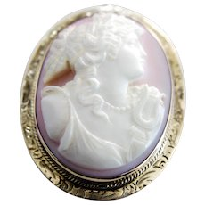 Truly Lovely Angel Skin Coral Cameo Brooch/Pendant Set in 14k Gold