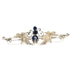 Lovely Vintage Gold Sapphire Brooch with Leaves