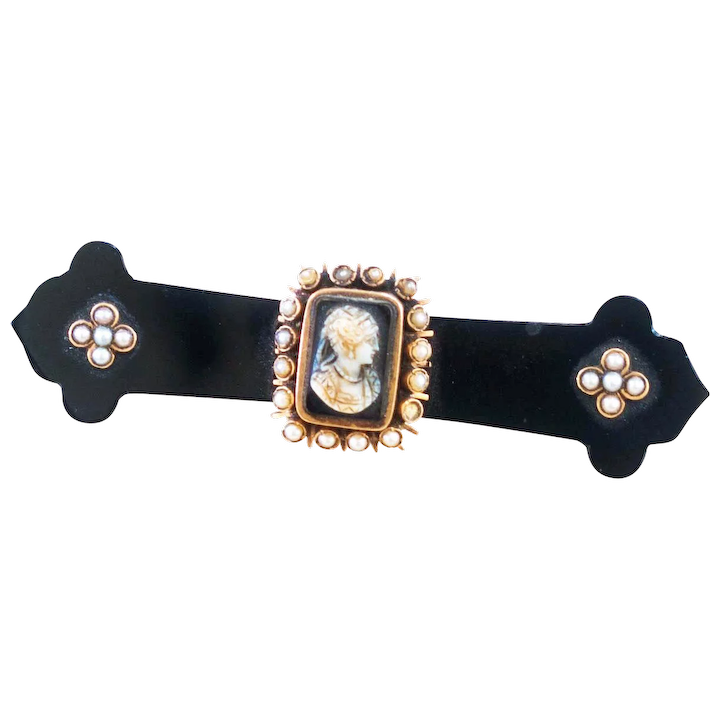 c64cc48f0 Outstanding Antique Victorian Onyx Brooch with Stone Cameo and Pearls :  Charlene Trueman Antiques and Estate Jewelry | Ruby Lane