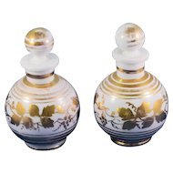 Pair of Vintage Charleton Hand Painted Milk Glass Perfume Bottles