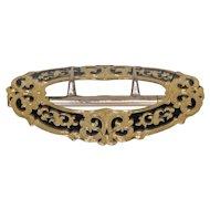 Outstanding Antique 14k Black Enamel Belt Buckle