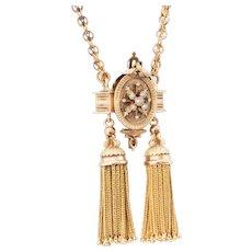 Fabulous Heavy 14k Gold Victorian Tassel Necklace