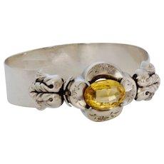 Antique Silver and Claw Set Citrine Bracelet