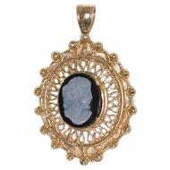 Vintage 14k Stone Cameo Pendant with Filigree Setting