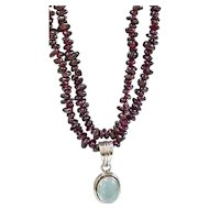 Vintage Garnet Bead and Moonstone Necklace