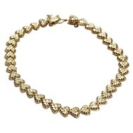Lovely Vintage 10k Gold Bracelet All Hearts