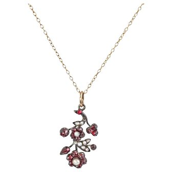 Bohemian Garnet and Pearl Pendant on Gold Filled Chain