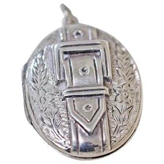 Vintage Sterling Silver Locket with Buckle Motif