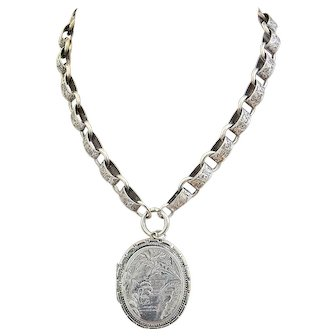 Early 1900s Silver Book Chain with Large Oval Locket