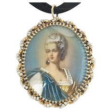 Lovely Vintage 14k Gold and Seed Pearl Portrait Broach/Pendant